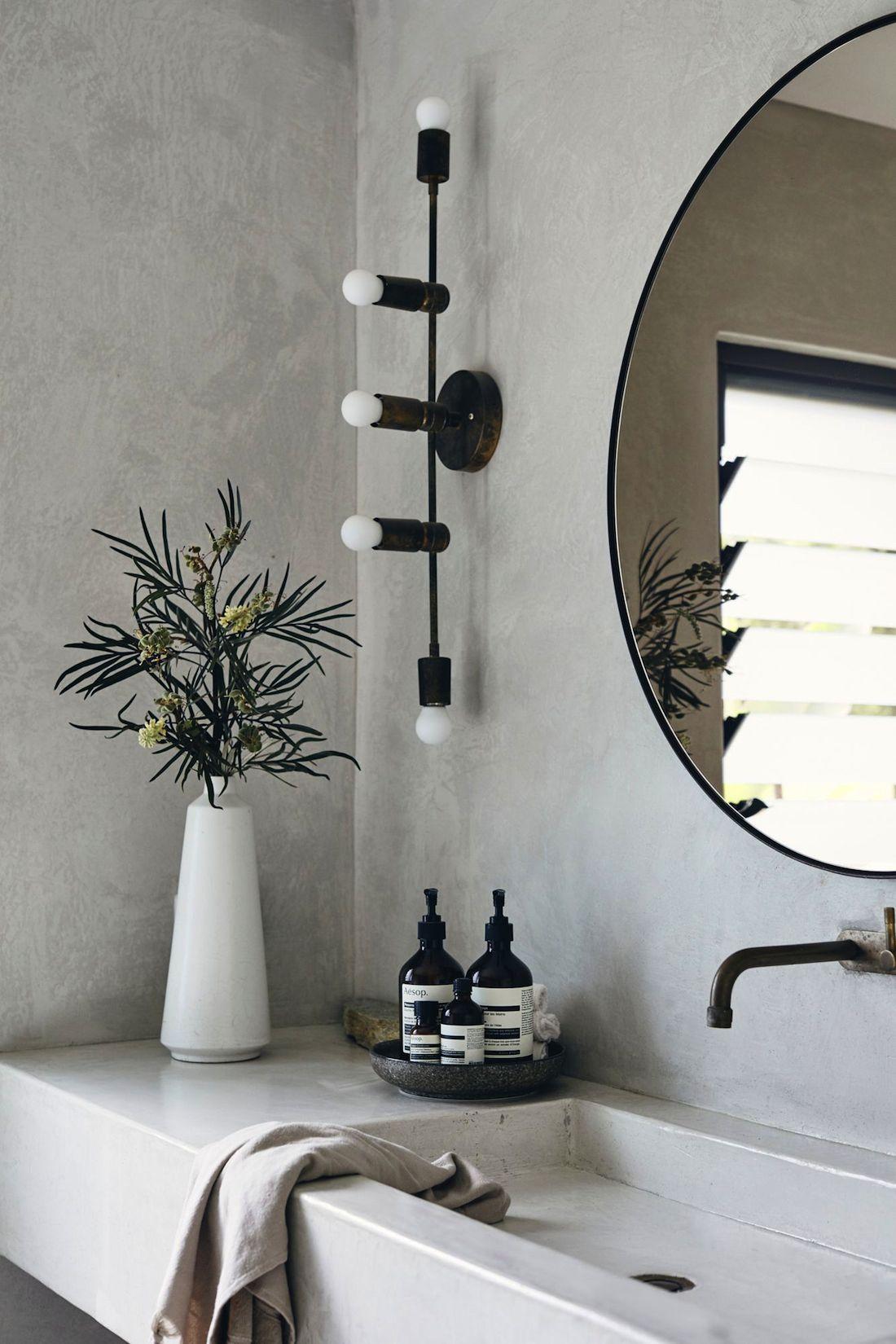 Bathroom with sink built into vanity