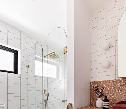Colourful bathroom featuring Fibonacci Stone Fatima's Reflection