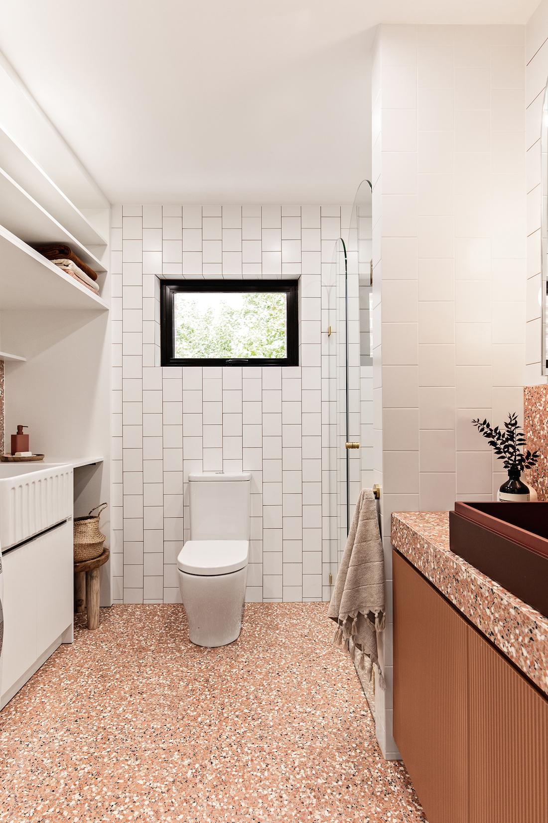 Terrazzo bathroom with Fibonacci Stone Fatima's Reflection