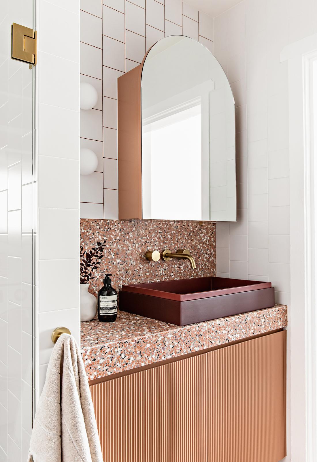 Burgundy sink in terrazzo bathroom with Fibonacci Stone terrazzo Fatima's Reflection