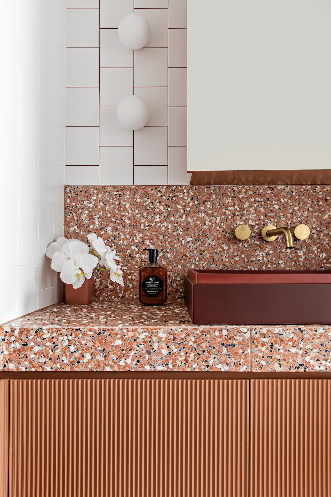 Bathroom featuring Fibonacci Stone terrazzo Fatima's Reflection