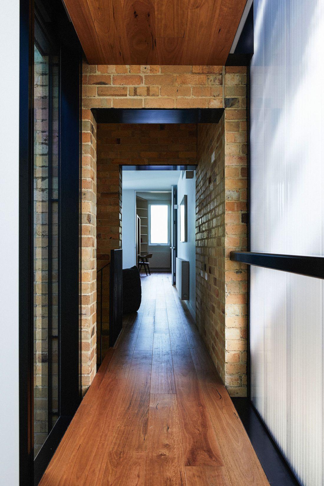 Mixed textures of materials in hallway