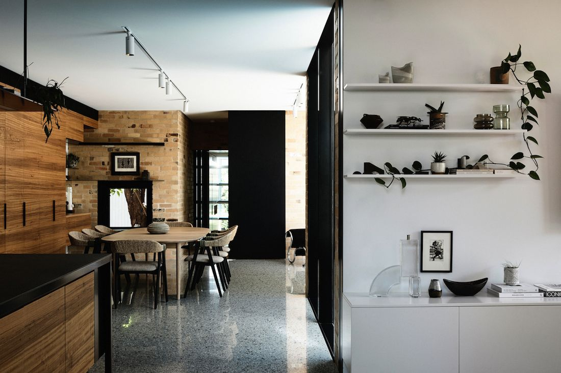 Open shelving in living dining kitchen space