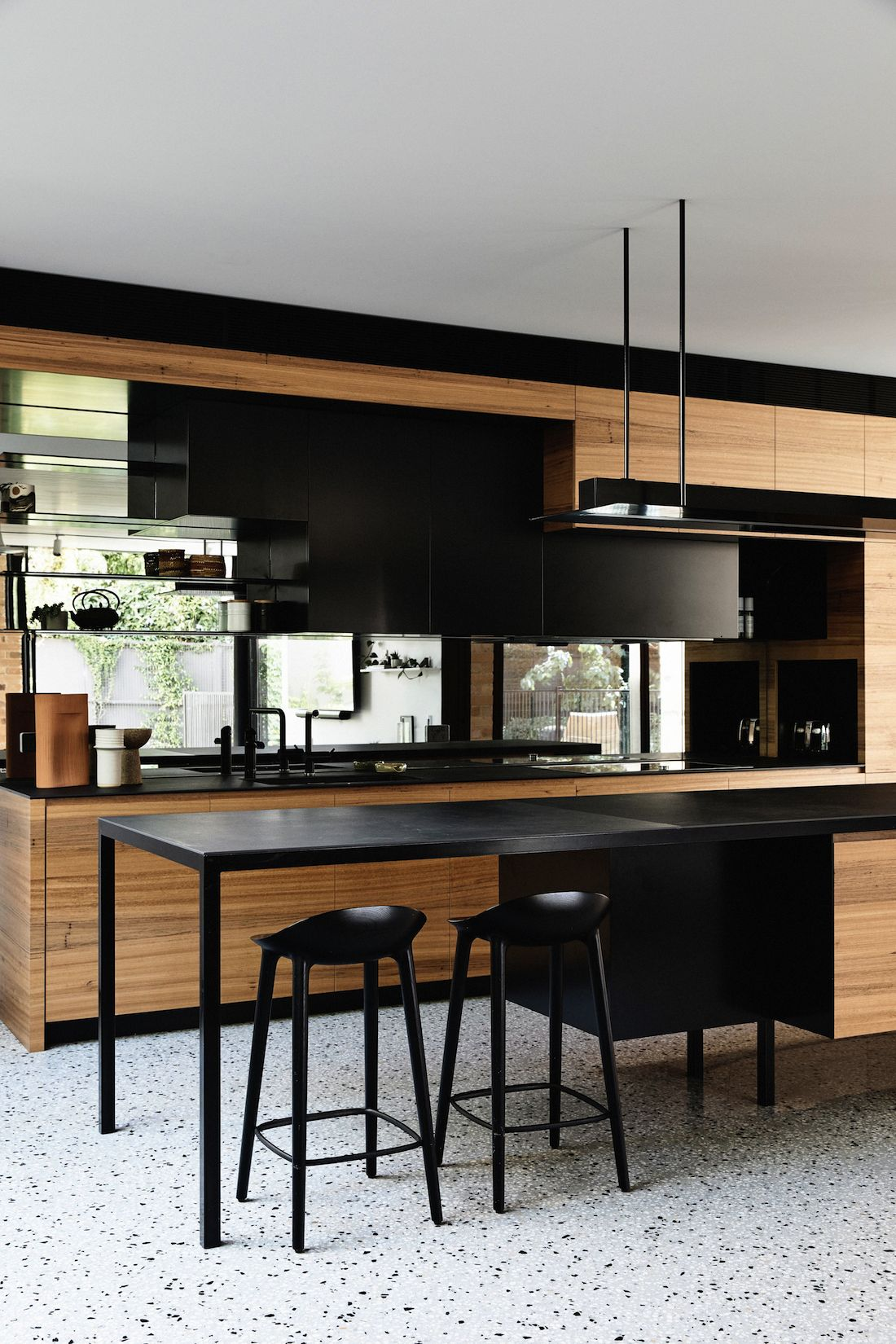 Timber and black kitchen in Garden House