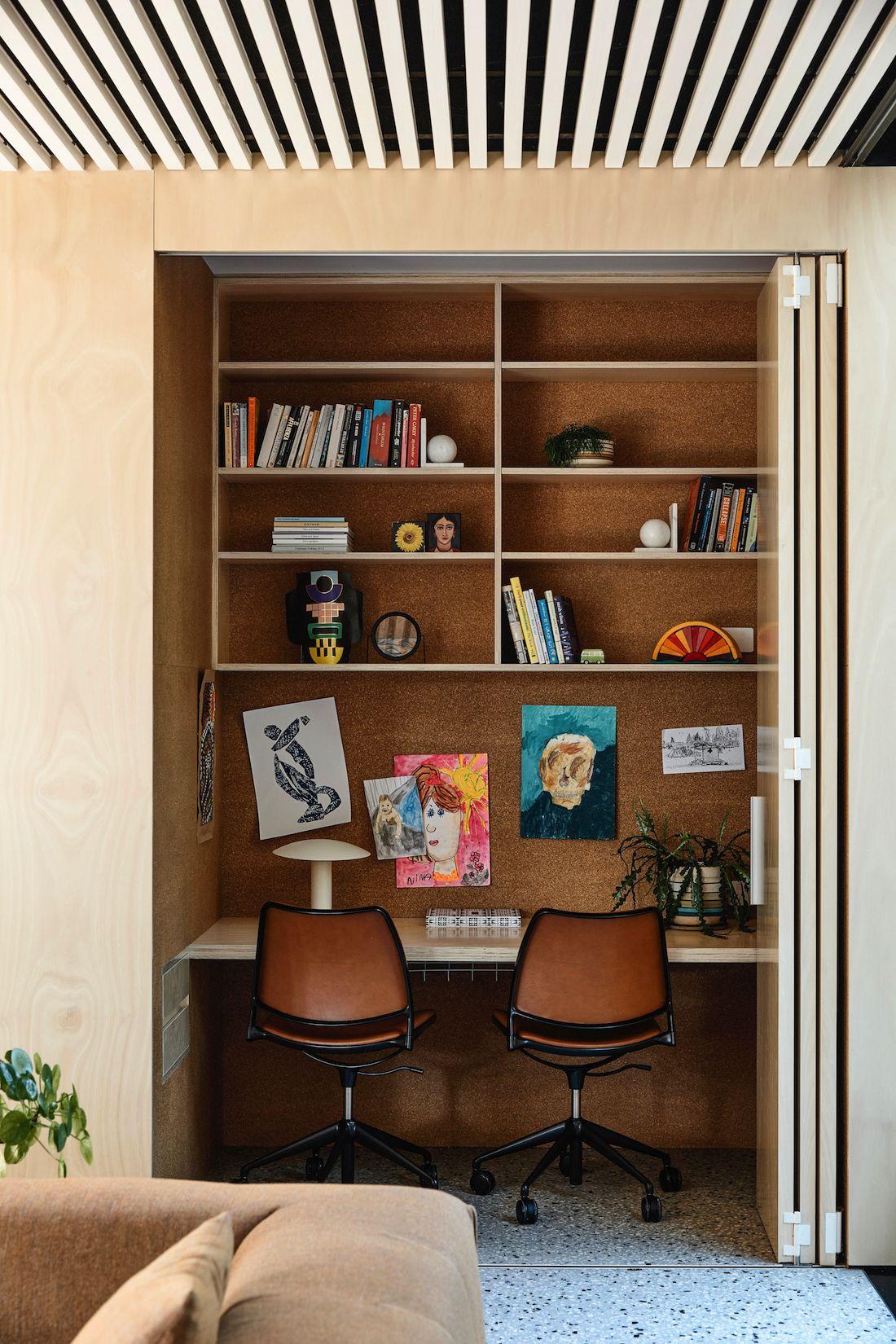 Built-in study nook in living room