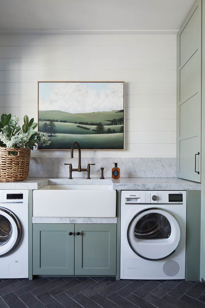 Modern country sage green and marble laundry