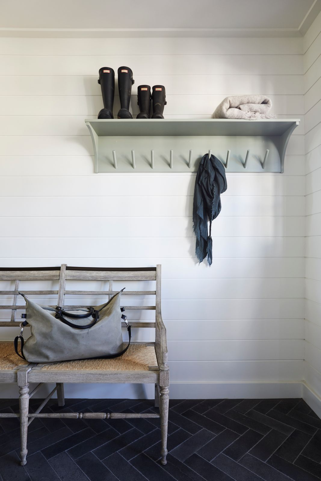 Shelving and sitting space for mudroom