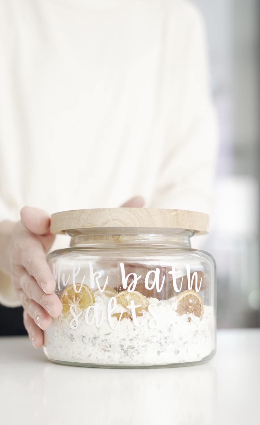 Milk bath salts in airtight container