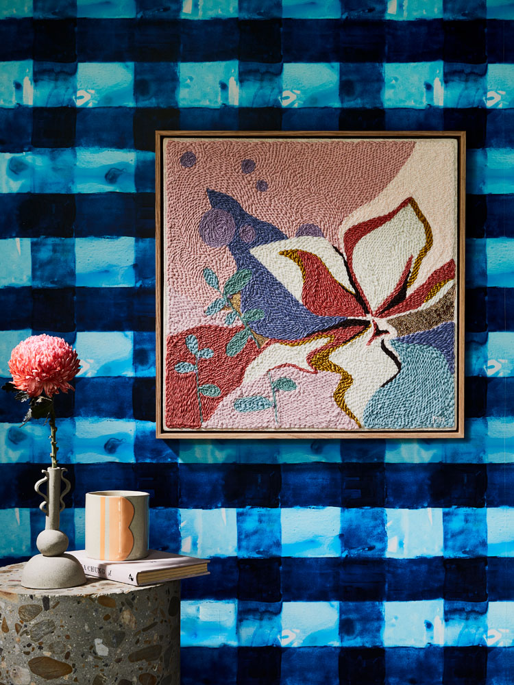 Floral tapestry art but Monica Henry