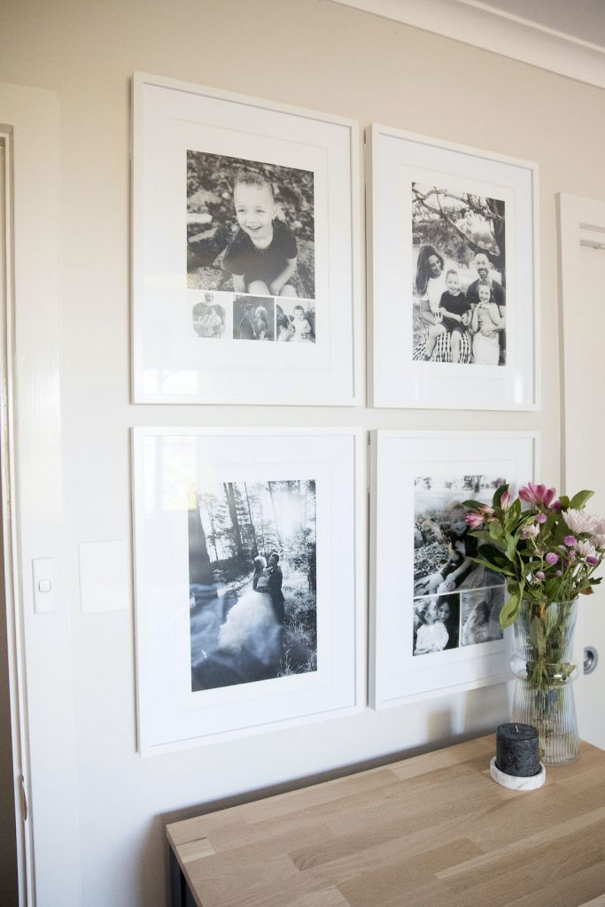 Popic black and white small space gallery wall