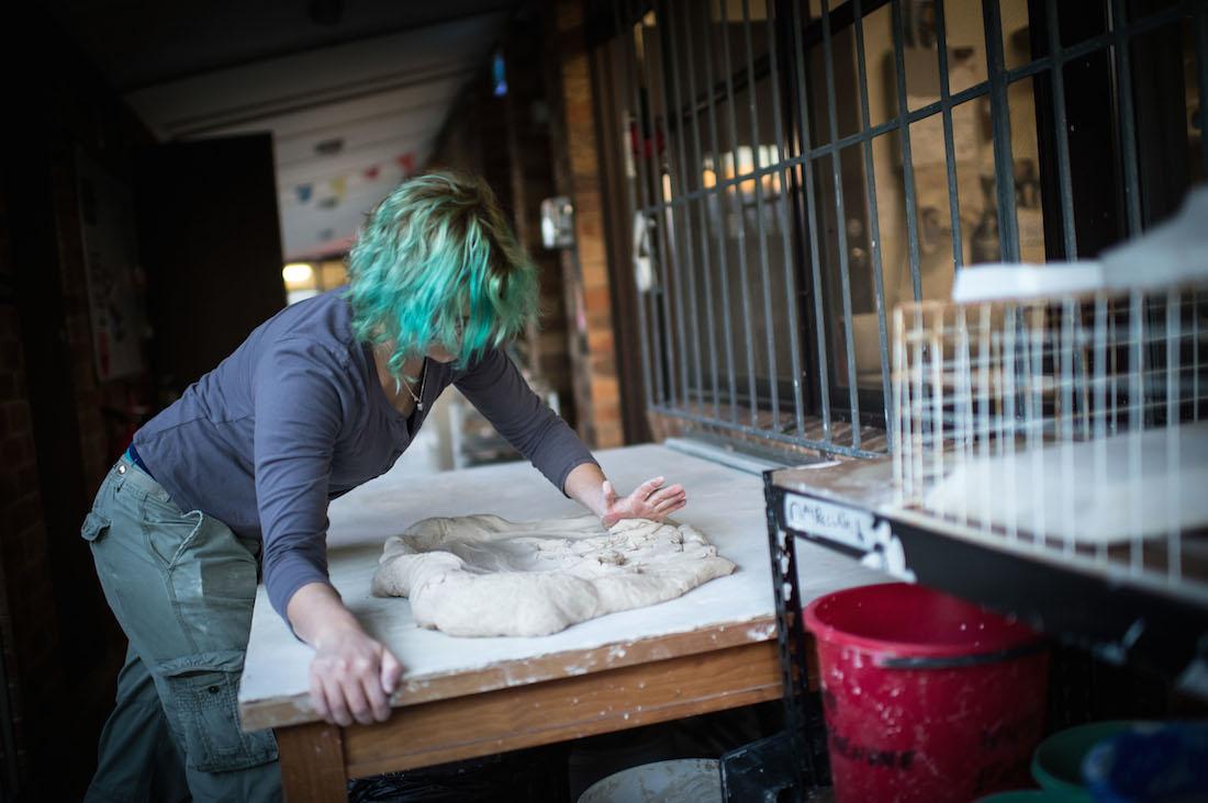 Artist Rachael McCallum at work