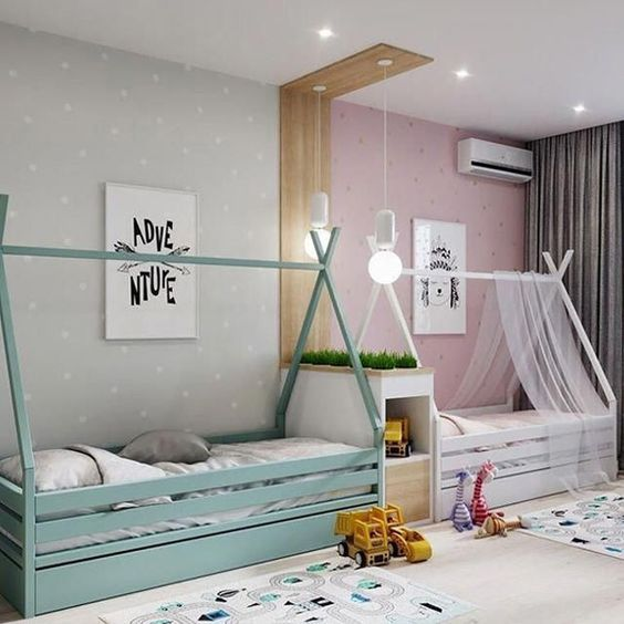A-frame beds in white and green