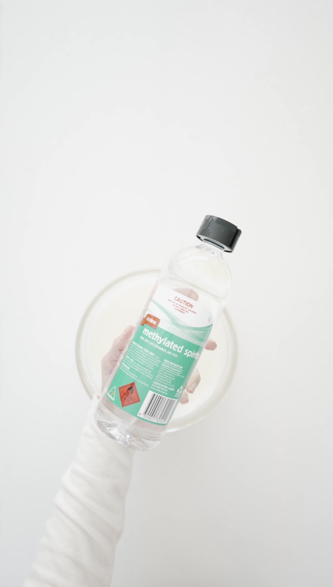 Add Methylated spirits