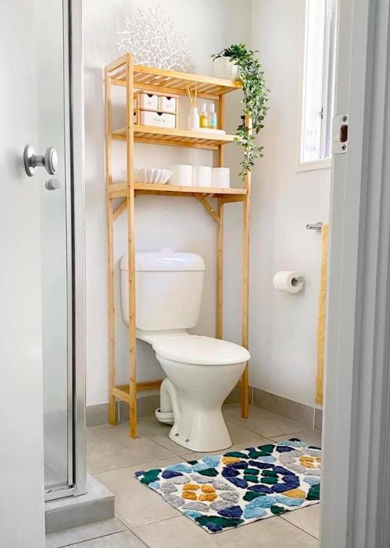 Storage over toilet using Kmart organisation