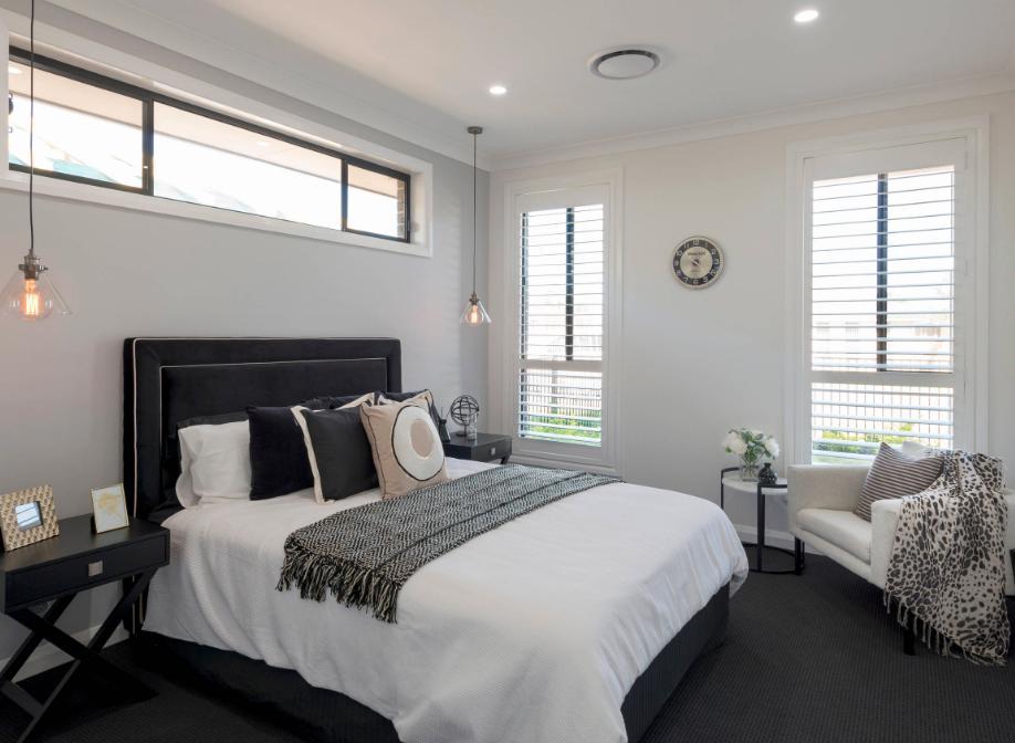 Black carpet in modern bedroom