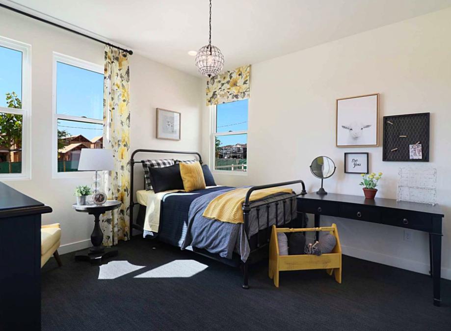 Teen bedroom with black carpet