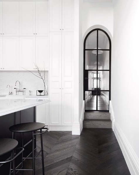 Black herringbone timber floors in modern traditional home