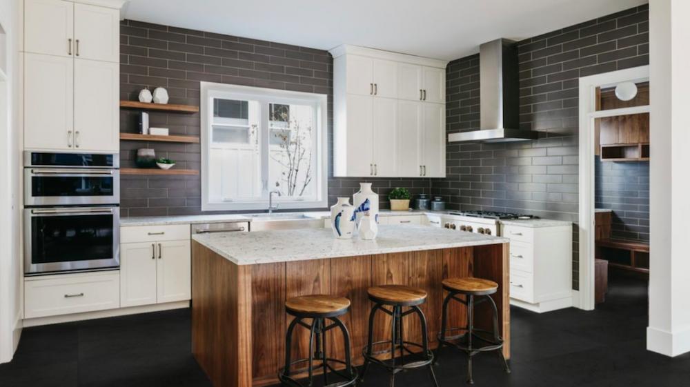 Black tiles in kitchen