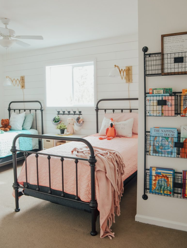 Steel beds in boy and girl shared bedroom