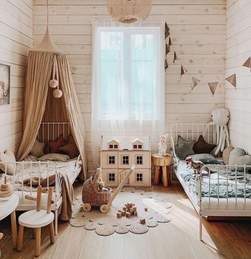 Boho shared kids bedroom