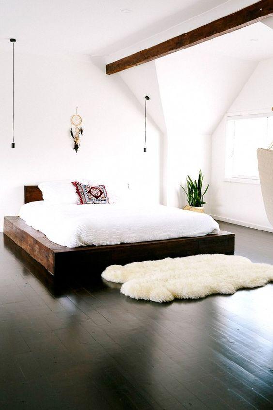 Boho bedroom with black floors