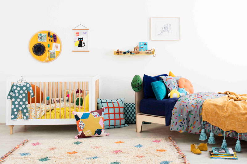 Coloured shared kids bedroom