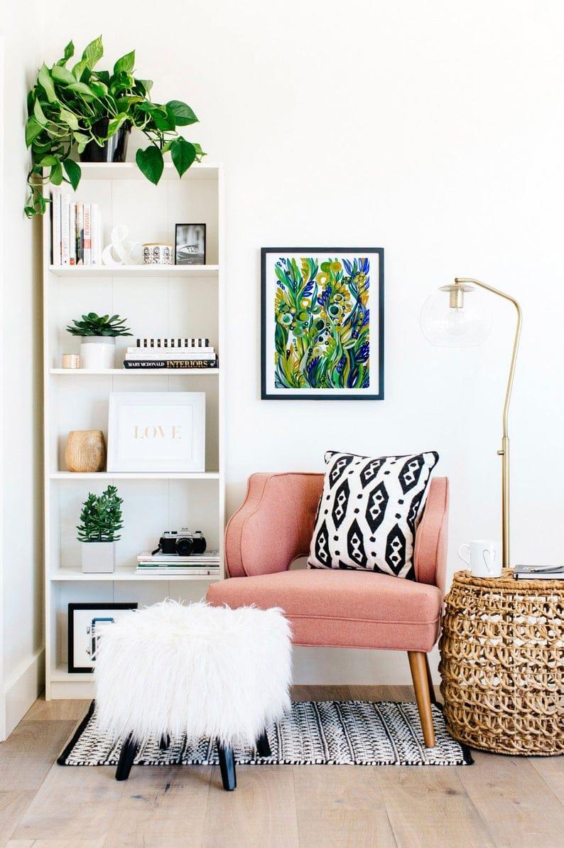 Cosy nook and bookshelf