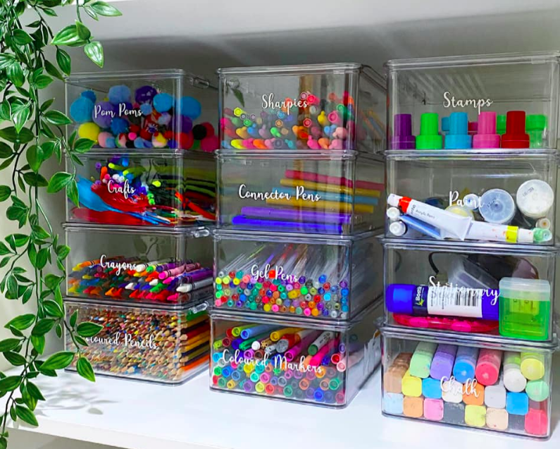 Organised craft supplies using Kmart products