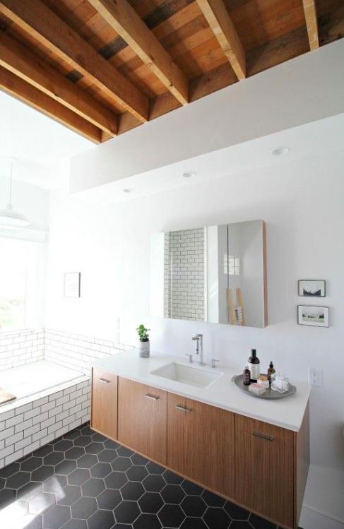 Honeycomb tile_bathroom_farmhouse_via Pintrest