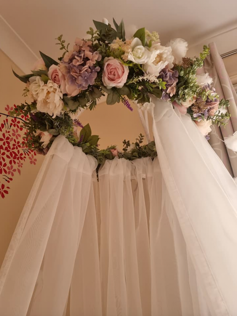 DIY floral canopy using Kmart flowers