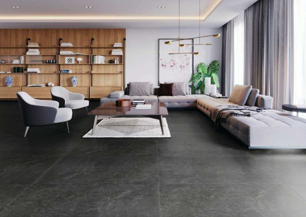 Living room with tiled floor