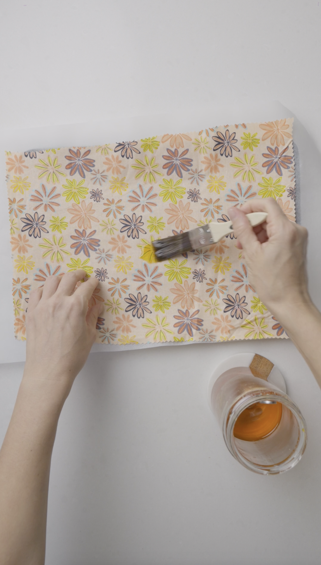 Paint fabric with beeswax mixture