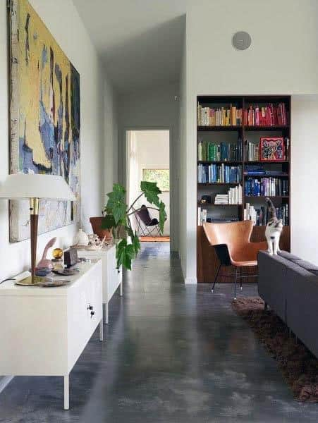 Polished concrete floors in living area
