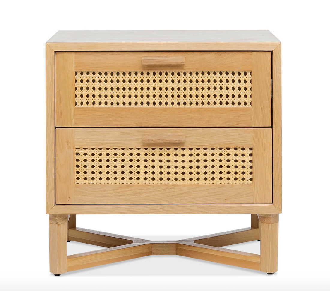 Timber and rattan bedside table from Freedom