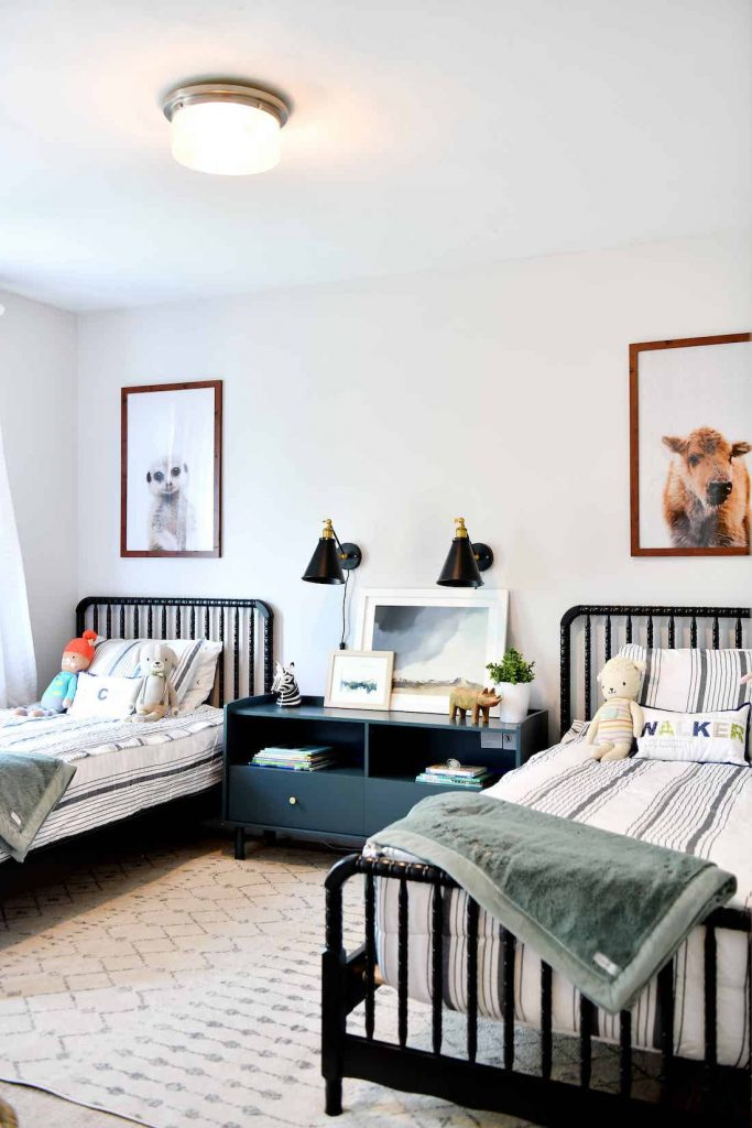 Shared bedroom with matching beds