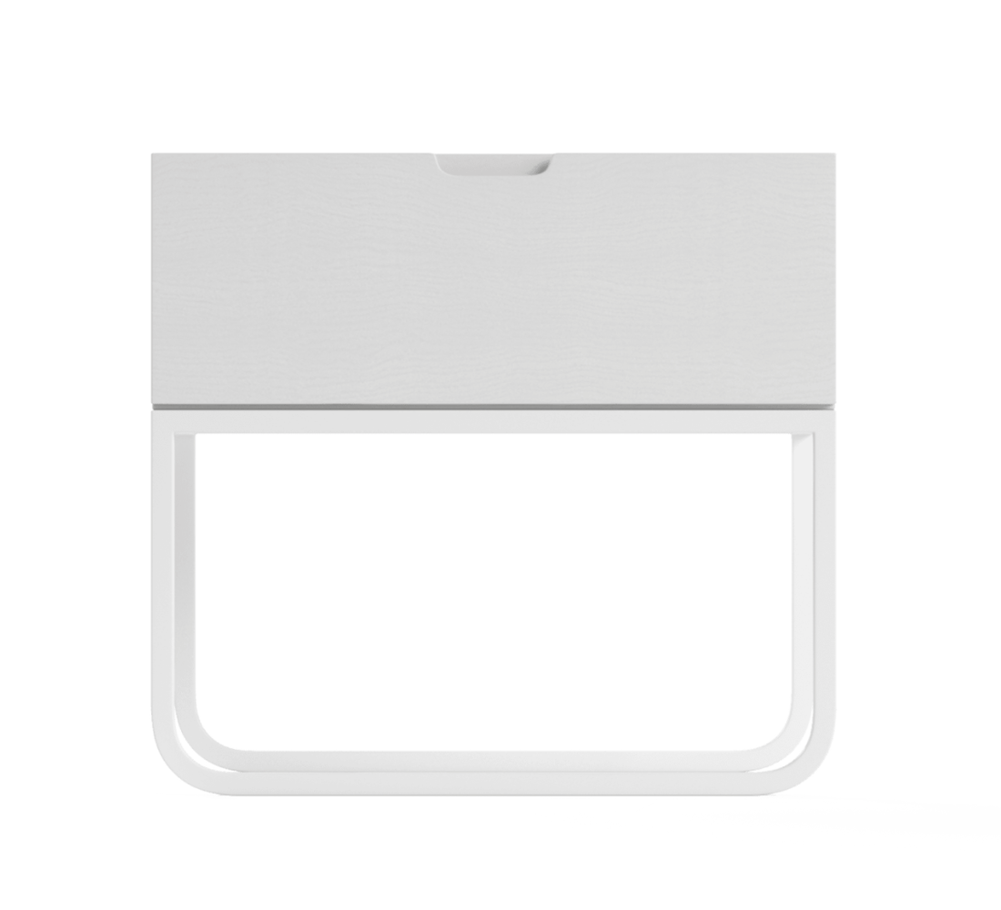Slim bedside table in white from Brosa