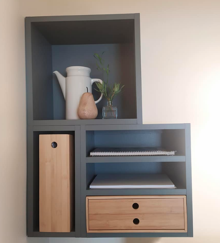 Timber shelves with bamboo Kmart office products