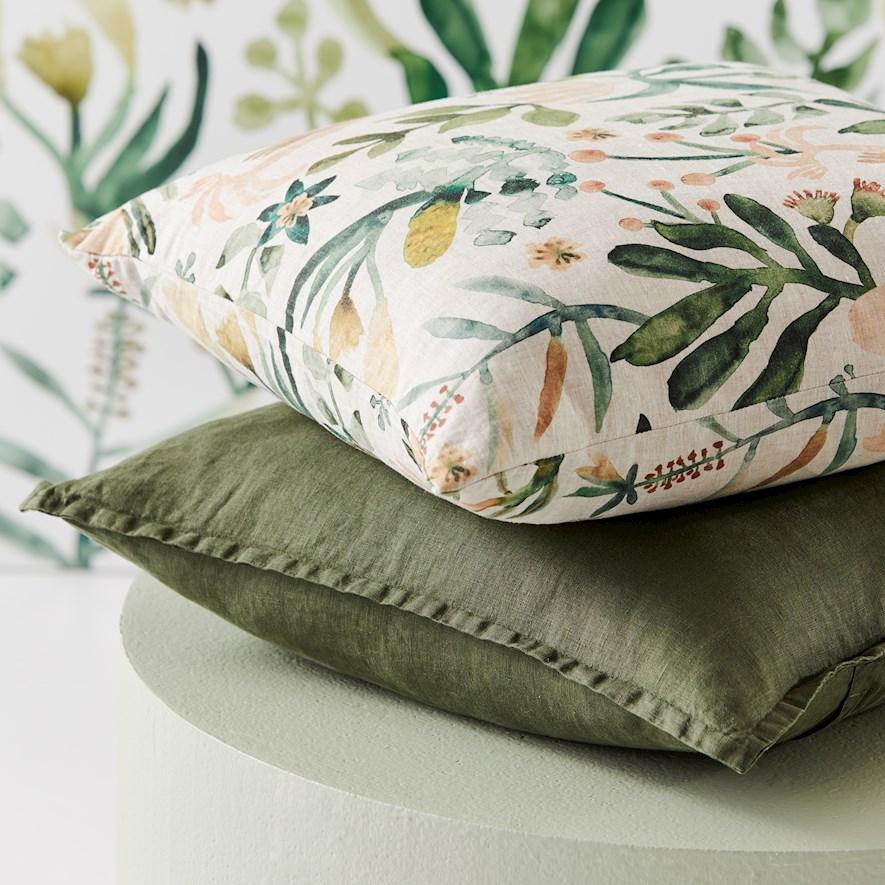 Green linen and botanical print cushions