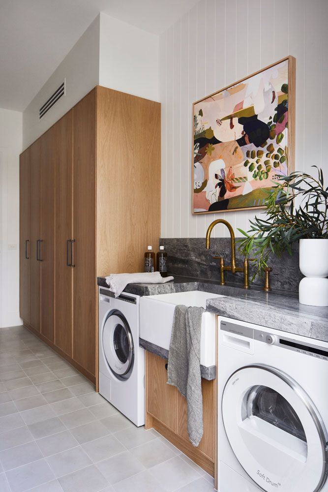 Luxurious timber laundry