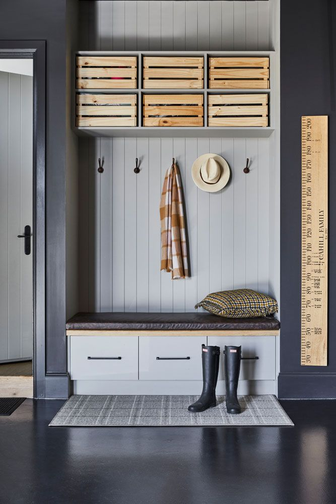 Mudroom with panel wall