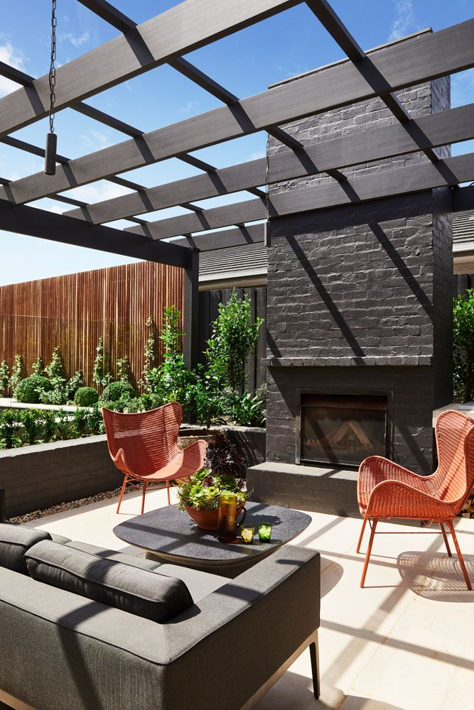 Outdoor living area with fire
