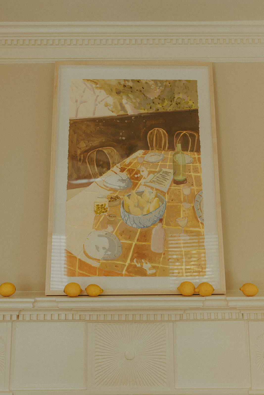 Yellow dinner party painting by Blakely Made