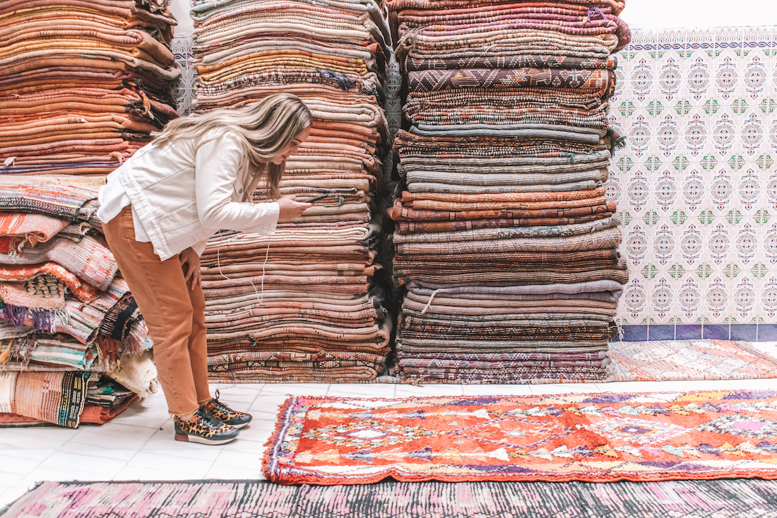 Pile of Moroccan rugs from Beni Kesh