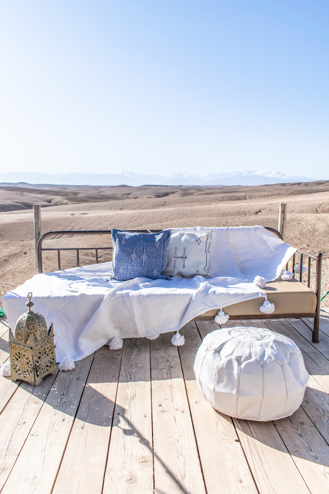 Moroccan textiles on outdoor couch