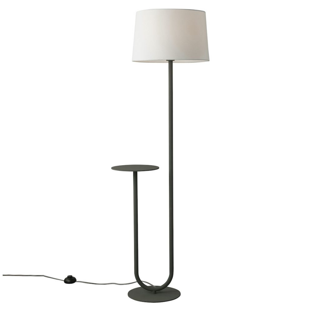 Floor lamp with side table is a fab small space decorating idea