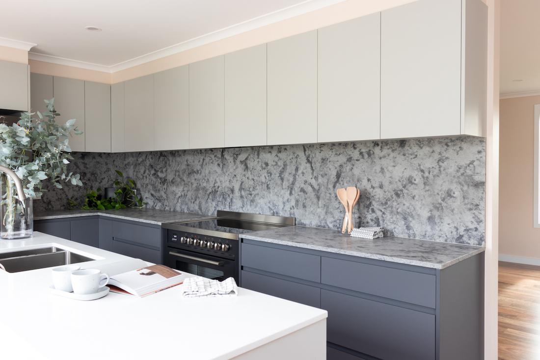 Grey marble splashback in kitchen