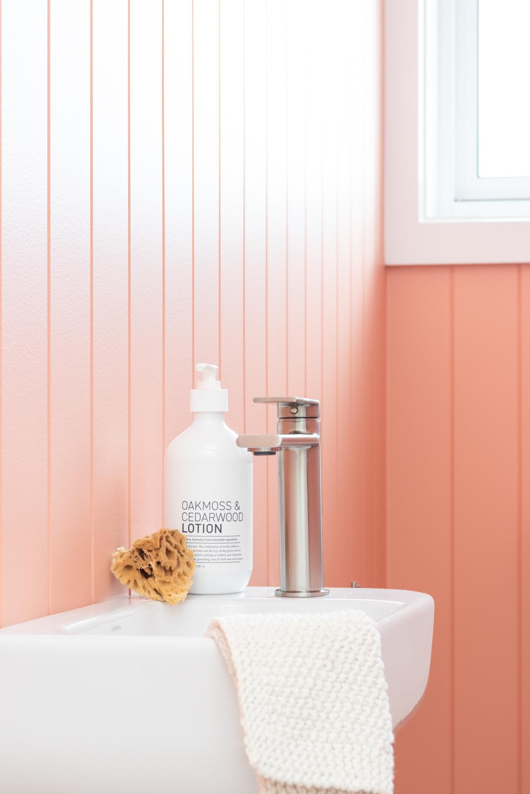 Pink panelled bathroom