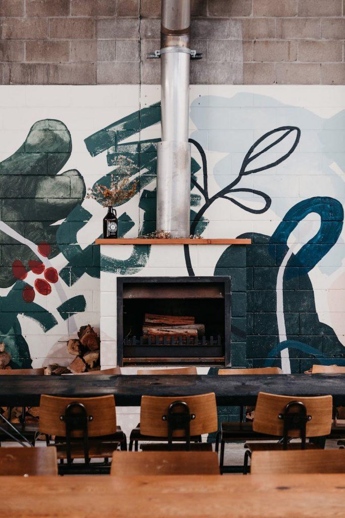 Inside cafe with artwork by Kiasmin