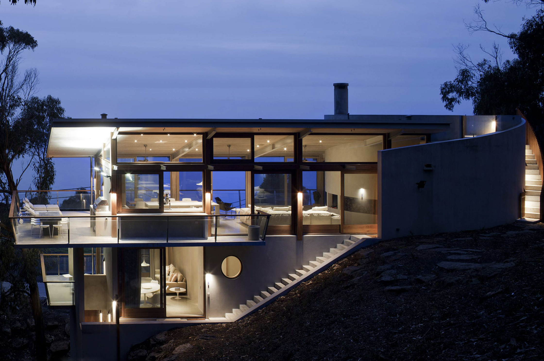 Ocean house by night