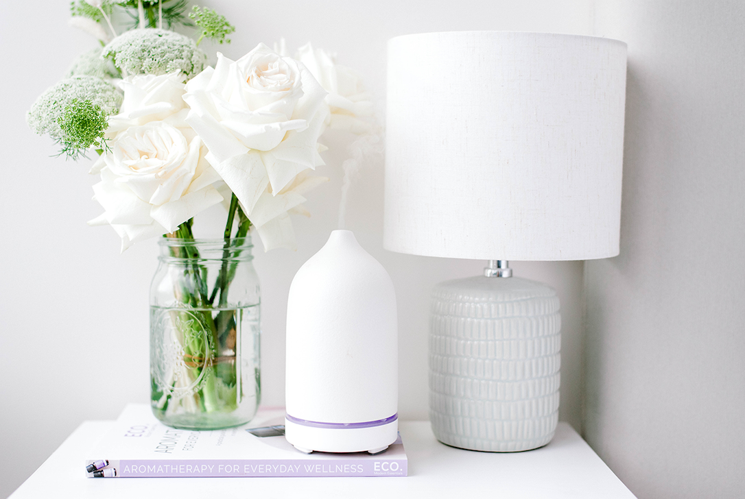 Bedside table styling with stone diffuser